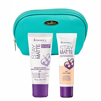 Two Piece Kit Rimmel Stay Matte Foundation Light Ivory and Stay Matte Primer with Aquamarine Draizee Leather Cosmetic Bag