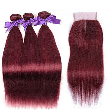 8A Burgundy Straight Brazilian Hair Weave Bundles With Closure Wine Red 99J Unprocessed Virgin Remy Human Hair Extensions With Middle Part Closure