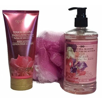 Sweet Pea Blossom Hand Wash with Blackberry & Lilac Scented Body Lotion and Matching Bath Pouf Sponge (3 Items in Bundle) by April Bath & Shower
