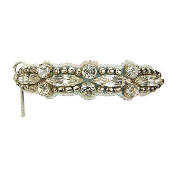Deepa Gurnani Pony Tail Holder in Scallop Edging Silver Beads and Crystals