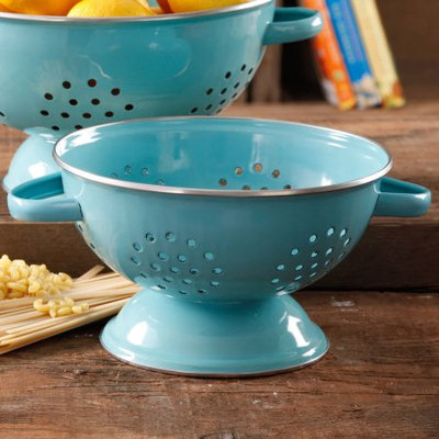 Gibson Oveseas Inc. The Pioneer Woman 5-Quart Metal Turquoise Colander