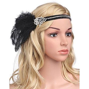 BABEYOND Women's Flapper Headband Black Feather Crystal Beaded 1920s Headband Great Gatsby Black