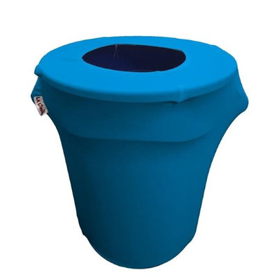 LA Linen SpandexCover32G-TurquoiseX52 Stretch Spandex Trash Can Cover 32 gal Round Turquoise