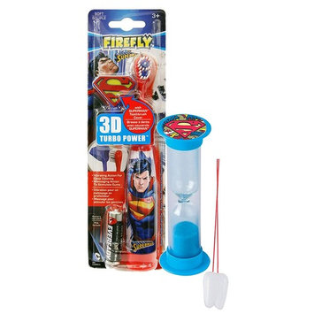 Super Hero Inspired 3pc Bright Smile Oral Hygiene Set! Superman Turbo Powered Toothbrush, 3D Brush Cap & Brushing Timer! Plus Bonus