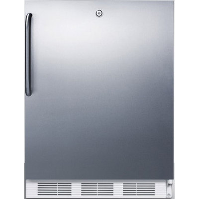 SUMMIT ADA compliant built-in undercounter all-refrigerator with stainless steel door, towel bar handle, and front lock