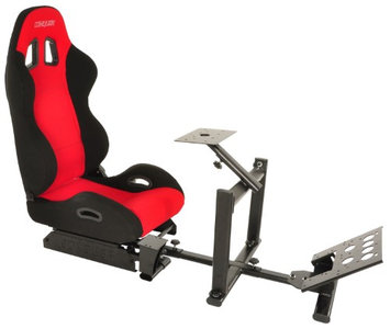 Conquer Racing Simulator Cockpit Driving Seat Reclinable with Gear Shifter Mount Red