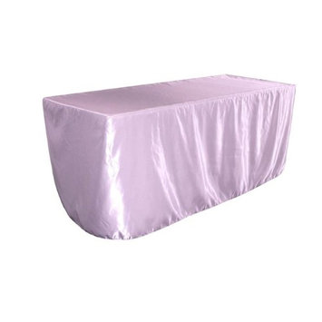 LA Linen TCbridal-fit-96x48x30-LilacB45 Fitted Bridal Satin Tablecloth Lilac - 96 x 48 x 30 in.