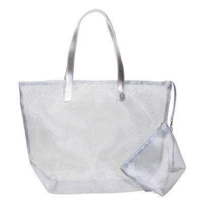 Transparent Polyester Tote Bag w/ Cosmetics Bag