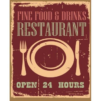 Createspace Publishing Fine Food & Drinks Restaurant Journal Writing Diary Notebook: Vintage Sign Lined 160 Pages - 8 x 10 Large Journal For Writing In