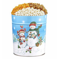 The Popcorn Factory Popcorn Gift Tin, Snowman, 3.5 Gallons (Robust Cheddar, White Cheddar, Caramel)