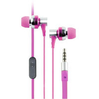 Cliptec Pink G-Hallo Music Stereo 3.5mm Wired In-Ear Headphones Noise Isolation In-line Control /Mic