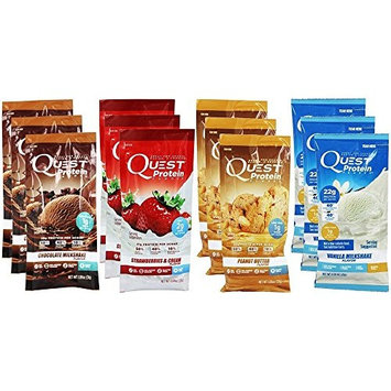 Quest Nutrition Quest Protein Powder Milkshake Single Serve Pouches, Variety Pack, 12 Count