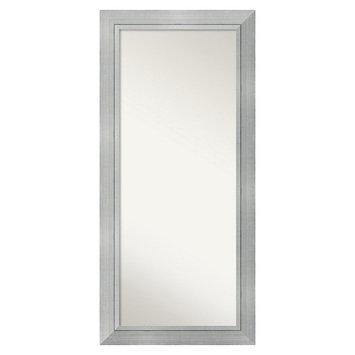 Amanti Art Romano Modern Silver Finish Framed Wood Floor Mirror