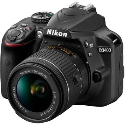 Nikon - D3400 Dslr Camera With Af-p Dx Nikkor 18-55mm F/3.5-5.6g Vr Lens - Black