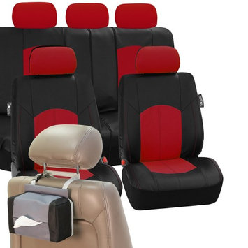 Fh Group PU Leather Car Seat Covers Sport line Set Red Free Gift Tissue Dispenser