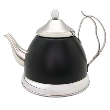 Evco International Inc. D/b/a Creative Home Creative Home Nobili-Tea 2.0 Qt Tea Kettle/Tea Pot w/Stainless Steel Infuser Basket - Opaque Black