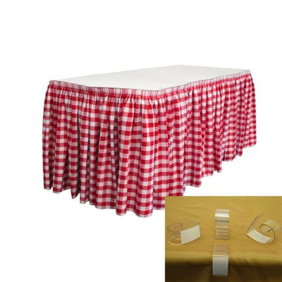 LA Linen SKTcheck17x29-10Lclips-RedK98 Polyester Gingham Checkered Table Skirt with 10 L-Clips White & Red - 17 ft. x 29 in.