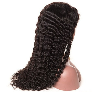 HC Hair Curly Deep Wave 360 Lace Frontal Wigs Pre Plucked Hairline Peruvian Virgin Hair Deep Wave Human Hair Lace Wigs 150% Density with Baby Hair for Black Women