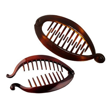 Parcelona French Effortless Mini Small Tortoise Shell Banana Hair Clip for Fine Hair