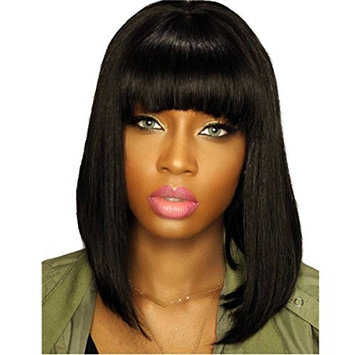 DLW Human Hair Lace Wig With Bangs Short Bob Lace Front Wig with Bangs Bob Style(12inch lace front wig)