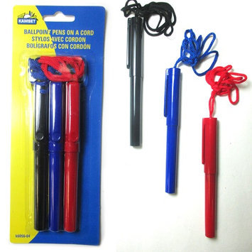Atb 3 Ballpoint Pens On A Cord Necklace Lanyard Assorted Red Blue Black Ink Color!