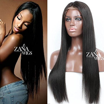 ZANA Silky Straight Full Lace Front Wigs for Black Women Brazilian Virgin Human Hair Wigs with Baby Hair 130 Density