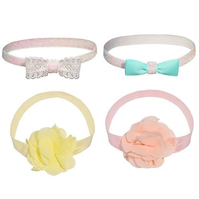 Lux Accessories Assorted Bow Baby Girl Infant Hair Accessories Headband Set 4PC