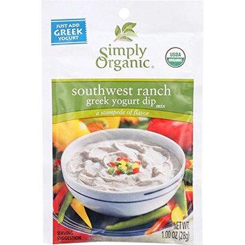 Simply Organic Dip Mix - Organic - Greek Yogurt - Southwest Ranch - 1 oz - case of 12 - Yeast Free