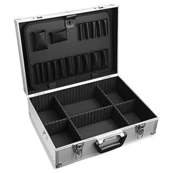 18-Inch Aluminum Tool Case Box - Makeup Train Case Organizer, Rugged Textured Carrying Case, Silver