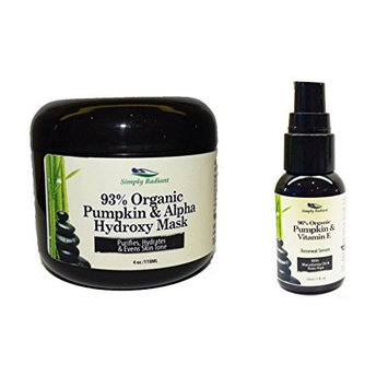 Simply Radiant Beauty Organic Pumpkin Skincare Set- Pumpkin Alpha Hydroxy Mask + Pumpkin Vitamin E Serum