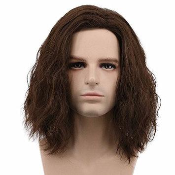 Karlery Men Fluffy Short Curly Brown Wig Halloween Cosplay Wig Anime Costume Wig