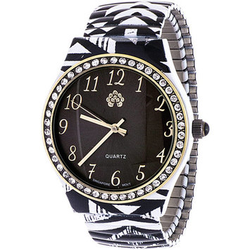 Wallflower Girls' Zebra Design Watch with Clear Stone Dial, White and Black Alloy Band