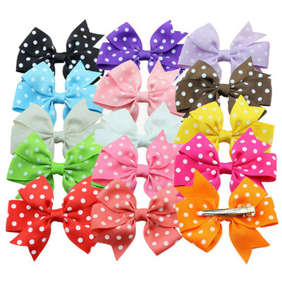 Coxeer, 3.1in/15Pcs Polka Dot Alligator Clips, Ribbon Hair Bows Bowknot Hair Accessories for Toddlers Baby Girls Kids Teens Children