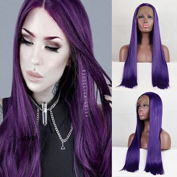 Party Queen Purple Synthetic Wig Silk Straight Long Wig With Free Part Machine Made Cheap Wigs for Women Heat Resistant