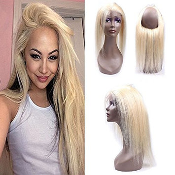 IUEENLY Blonde 360 Lace Frontal Closure Brazilian Straight Hair 613 Honey Blonde Virgin Human Hair 360 Frontal Lace Closure