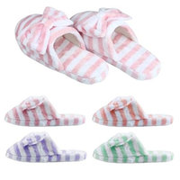 Sunward Fashion Women Indoor Slippers, Lovely Stripe Bowknot Super Soft & Lightweight Warm Home Floor Slippers Shoes (L