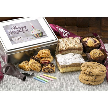 Dulcet Happy Birthday Gift Basket- Includes Traditional and Raspberry Crumb Cake, Mini Muffins,Chocolate Chip Cookies, Assorted From Our Best Rugelach, Birthday Candles and Birthday Balloons!