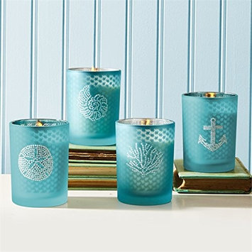 Seaside Filled Soy Candle with Rhinestones and Fresh Sea Breeze Scent - Set of 4