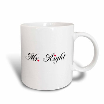 3dRose Mr Right - part of a Mr and Mrs gift set for romantic couples for anniversary wedding valentines day, Ceramic Mug, 15-ounce
