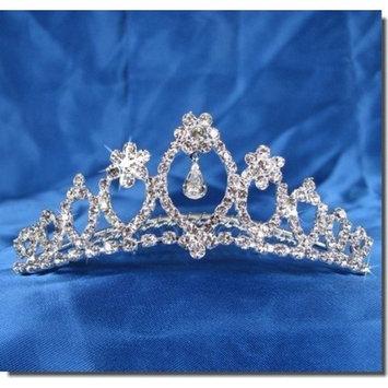 SparklyCrystal Princess Bridal Wedding Tiara Comb With Flower Crystal Center 62095