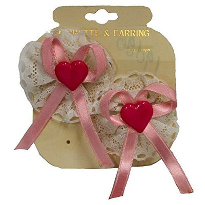 LACE RIBBON AND HEART CHILD OR BABY BARRETTE