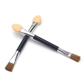 Phantomsky 10Pcs Disposable Cosmetic Makeup Applicator Eyeshadow Dual Sided Brush Double-end Brushes Set(Latex Sponge + Horsehair)