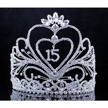Janefashions QUINCEANERA 15 FIFTEEN BIRTHDAY PARTY RHINESTONE TIARA CROWN W HAIR COMBS T2306