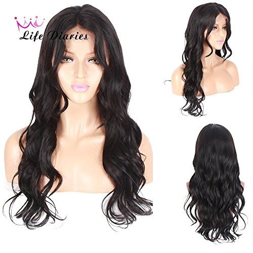 """Life Diaries 150% Density Natural Air Wave Glueless Silk Top Full Lace Wigs 8A Unprocessed Brazilian Virgin Human Hair Natural Hairline Bleached Knot Free Part(20"""", nature color)"""