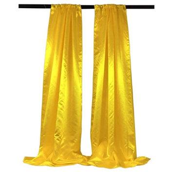 LA Linen BDbridal58x96-2Pk-YellowB47 Bridal Satin Backdrop Yellow - 58 x 96 in. - Pack of 2