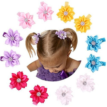 QandSweet Baby Girl Hair Clips with Jeweled Flower (6 Pairs 2