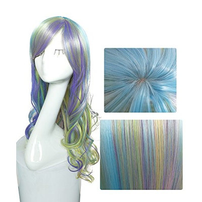 Namecute Ombre Rainbow Wigs Long Curly Wig Full Synthetic Fibre