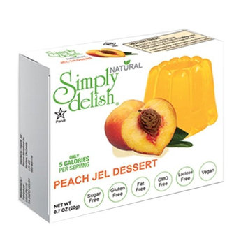 Simply delish Natural Jel Dessert, Sugar free, 0.3 oz., 6-pack - Fat Free, Gluten Free, Lactose Free, Non GMO, Kosher, Halal, Dairy Free, Natural (Peach)