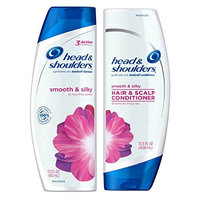 Head & Shoulders Smooth and Silky 24 Hour Frizz Control Dandruff Shampoo 13.5 fl oz & Conditioner 13.5 fl oz - 1 Bottle Each