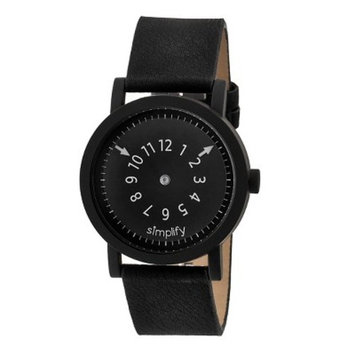 Simplify The 2300 Men's Suede - Overlaid Leather Strap Watch